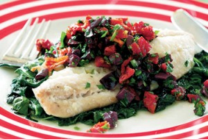 Baked Fish with Spinach, Olives and Macadamias